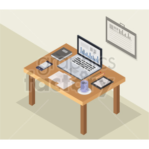 isometric office desk vector graphic clipart clipart. Commercial use image # 413722