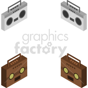 isometric boombox radio vector icon clipart bundle clipart. Commercial use image # 414118