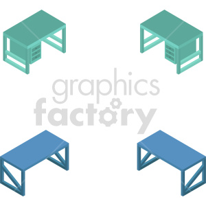 isometric office desk vector icon clipart bundle clipart. Commercial use image # 414187