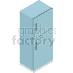 isometric blue refrigerator vector icon clipart