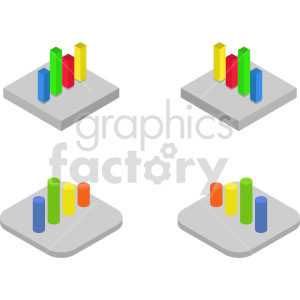 isometric bar charts vector icon clipart 2