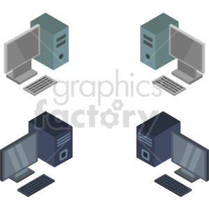 isometric computer vector icon clipart bundle clipart. Commercial use image # 414545