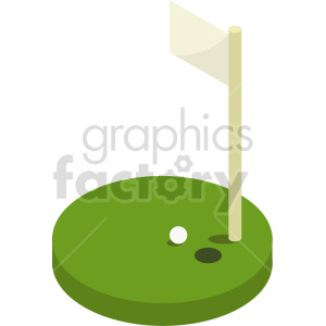 isometric golf course vector icon clipart 3