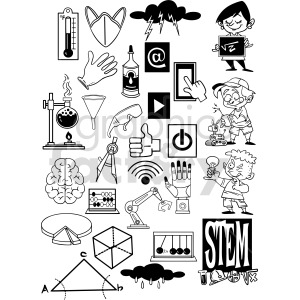 black and white cartoon STEM doodle page vector clipart clipart. Commercial use image # 414651