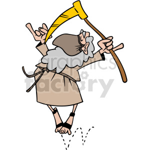 2020 father time wearing mask dancing vector clipart clipart. Commercial use image # 414665