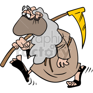 2020 father time wearing mask walking slow and depressed vector clipart clipart. Commercial use image # 414668