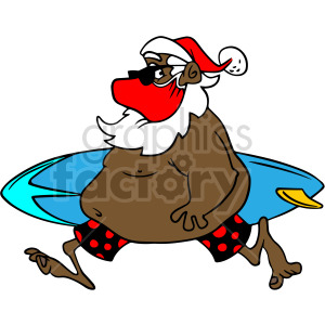 fat surfing black Santa wearing mask vector clipart clipart. Commercial use image # 414681