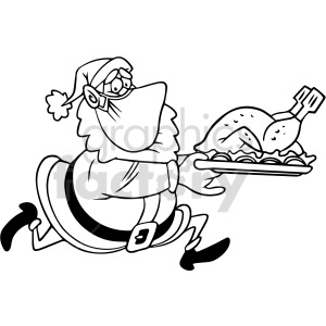black and white Santa wearing mask running holding dinner plate vector clipart clipart. Commercial use image # 414700