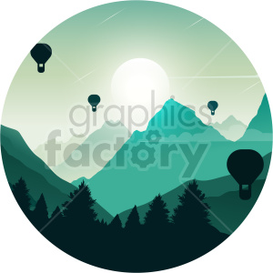 mountains hot air balloons clipart. Commercial use image # 414725