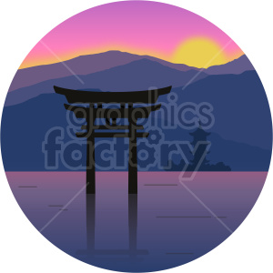 Japan island shrine vector clipart icon clipart. Commercial use image # 414738