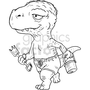 cartoon beach dino black and white clipart clipart. Commercial use image # 414768
