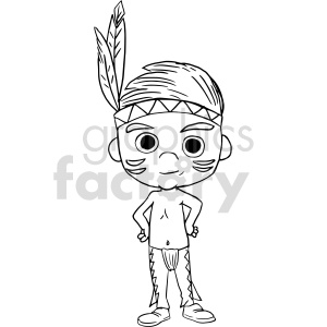 native boy cartoon black and white clipart clipart. Commercial use image # 414783