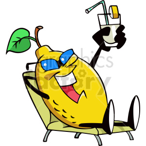 cartoon lemon chillen in lounge chair clipart clipart. Commercial use image # 414941