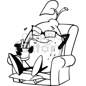 cartoon black and white lemon chillen in lounge chair clipart clipart. Commercial use image # 414952