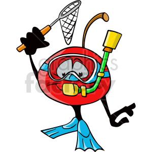 cartoon scuba diving cherry clipart clipart. Commercial use image # 414973