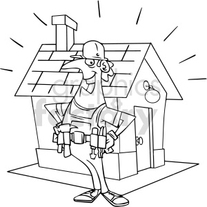 cartoon carpenter black and white clipart clipart. Commercial use image # 415024