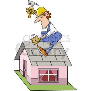 cartoon roofer clipart