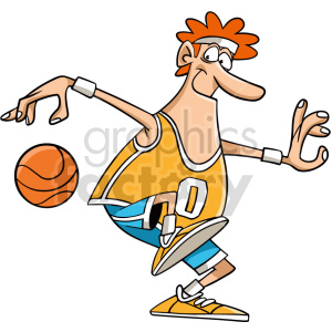 cartoon basketball player dribbling clipart clipart. Commercial use image # 415077