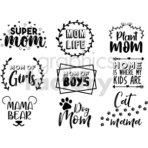mom typography vector graphic bundle clipart. Commercial use image # 415099