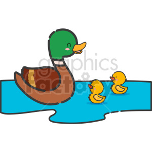 momma duck with ducklings clip art clipart. Commercial use image # 415126