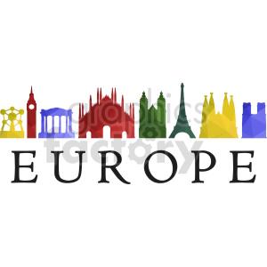clipart - Europe building skyline vector clipart.