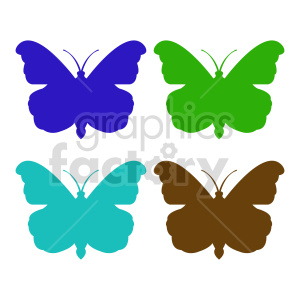 clipart - butterfly silhouette vector clipart 016.