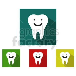 happy tooth dental icon vector set clipart. Commercial use image # 415995
