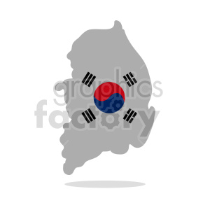 South Korea vector clipart with drop shadow
