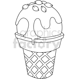 black and white cartoon ice cream vector clipart clipart. Commercial use image # 416125