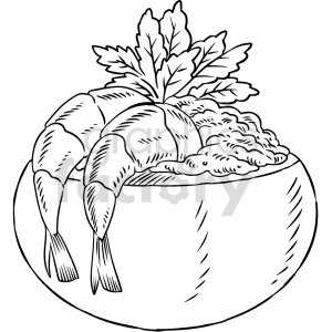 black and white shrimp dinner vector graphic clipart. Commercial use image # 416134