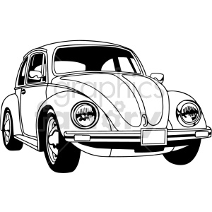 black and white vw beetle car vector clipart clipart. Commercial use image # 416198