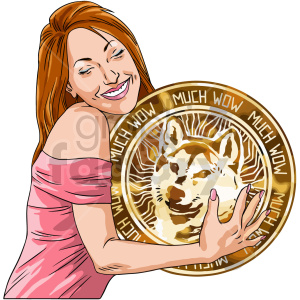 female hugging bitcoin clipart. Commercial use image # 416671