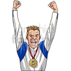 cartoon man wearing bitcoin medal vector clipart