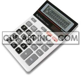 white calculator with grey black and red buttons