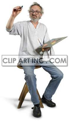 artist painter paint brush palette colors paintbrush sitting stool working work contemplating thinking looking artists painting creativity   3a0008lowres photos people