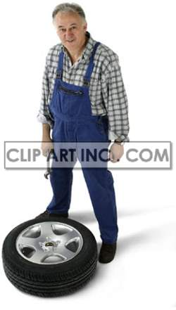 mechanic man male workman worker uniform tyre vehicle car pneumatic tire tires   3d1002lowres photos people
