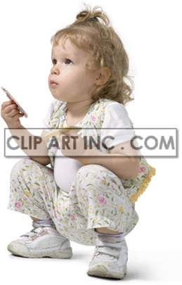 Little Baby Girl Holding Something and Watching clipart. Royalty-free image # 177497
