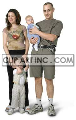 a family standing mom holding the little girls hand and the father holding the baby