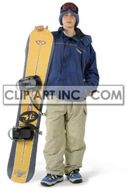 Teenage Boy Getting Ready to Go Snowboarding clipart. Commercial use image # 177512