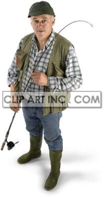Old Man Getting Ready to go Fishing clipart. Commercial use image # 177517
