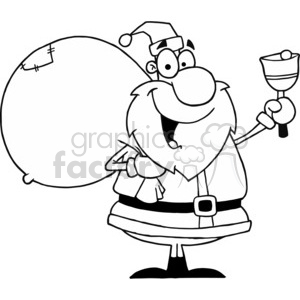 black and white Santa Claus  clipart. Commercial use image # 377772