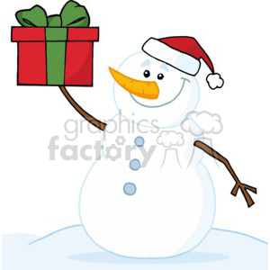snowman holding a present in Green and Red clipart. Commercial use image # 377774