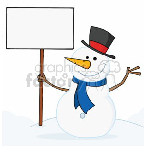 snowman holding a sign in a top hat and blue scraf