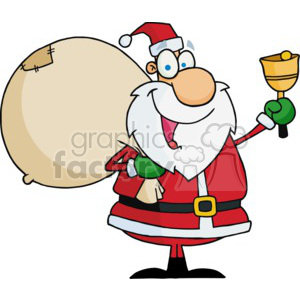 Santa holding a big bag of presents clipart. Commercial use image # 377778