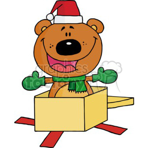 teddy bear popping out of a present clipart. Royalty-free image # 377780