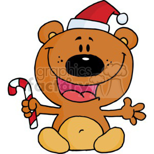 happy tedy bear holding a candy cane