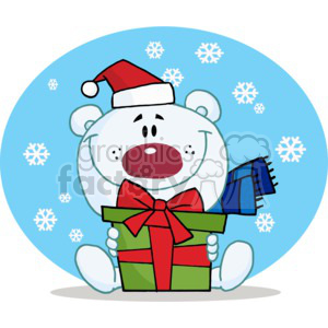 teddy bear holding a present wearing a blue scarf clipart. Commercial use image # 377784