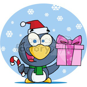 cartoon penguin holding a pink present clipart. Commercial use image # 377792