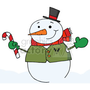 snowman wearing a red scarf and green mittens