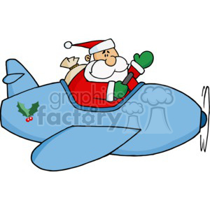 A Golly Santa Flying a Blue Airplane with a holly decoration on it